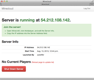The Minecloud server is running!